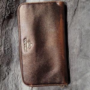 Prada Zip Wallet   Plum Saffiano Leather